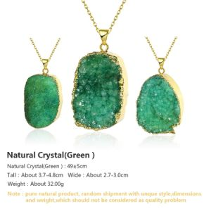 Fashion Jewelry Green Crystal Natyral Stone Pendant Necklace Gold Plated pictures & photos