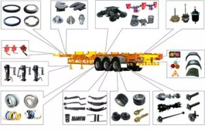 Semi Trailer Parts Includes Tandem Mechanical Suspension / Axle / Jost Holland Fuwa Type 28ton Landing Gear Leg / Tra Leaf Spring / Turntable / Twist Lock pictures & photos