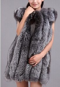 Best Quality Winter New Fashion Genuine Fox Furs Vests Woman Real Fur Coat for Women′s Natural Silver Fox Fur Jacket Waistcoat pictures & photos