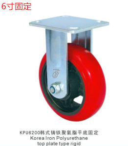 Fixed Caster with Korean PU Wheel Cast Iron Core