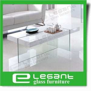 Square Tempered Glass Center Table Under Wood Drawers pictures & photos