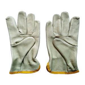 Pig Grain Industrial Safety Hand Drivers Leather Work Gloves pictures & photos