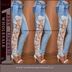 New Fashion Ladies Stretchy Skinny Ripped Denim Pants Jeans (TXXL246) pictures & photos
