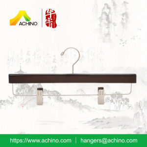 Wooden Trouser Clip Hanger with Metal Hook (WPSH005-A) pictures & photos