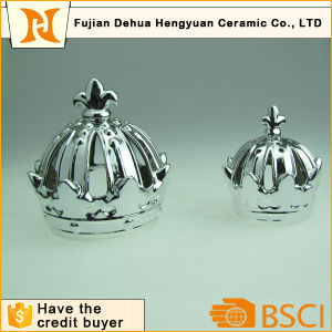 Silver Gold Plating Crown Ceramic Candle Holder pictures & photos