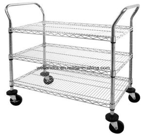 Carbon Steel Wire Mesh Industrial Heavy Duty Trolley Hand Push Cart for Sale pictures & photos