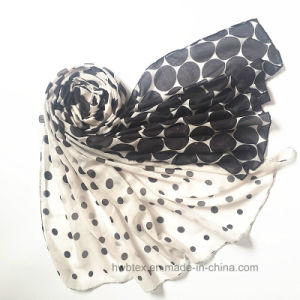 Classical Fashion Dots Printed Polyester Scarf with Degrading Effect (HW06) pictures & photos