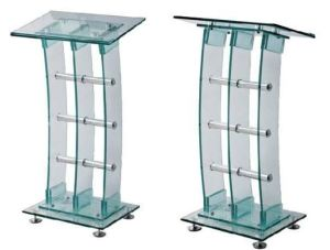 Steel Metal Modesty Panel Tempered Glass Reception Table/Desk (HX-GL221) pictures & photos