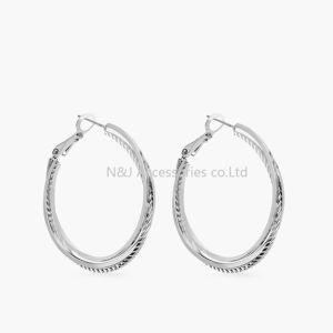 Silver Plated Hoop Earrings for Woman Large Twisted Circle Earrings Fashion Jewelry pictures & photos