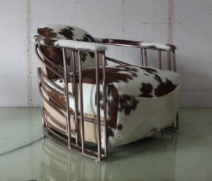 Copper Stainless Steel Tube Armrest Chair, Cowhide Leather Living Room Chair Yh-315 pictures & photos