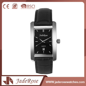 Custom Black Leather Quartz Wrist Watch pictures & photos