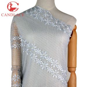 Candlace White Color African Embroidered Tulle Fabric pictures & photos