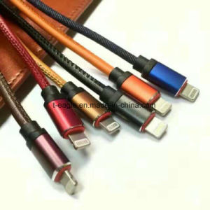 2.4A Pure Leather USB Cable Micro USB Charging Cable for iPhone and Android pictures & photos