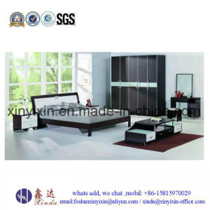 Oak Color Double Bed Modern Bedroom Furniture (SH038#) pictures & photos