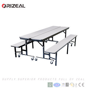 Orizeal Mobile Folding Canteen Table with Four Wheels pictures & photos