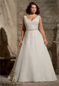 Plus Size Embroidered Appliques with Crystal Beading on Delicate Chiffon Bridal Wedding Dress pictures & photos