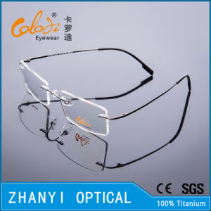 Lightweight Rimless Titanium Eyeglass Eyewear Optical Glasses Frame with Hinge (8508-C1) pictures & photos