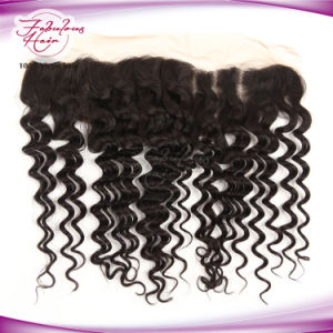 Natural 13X4 Deep Wave Virgin Brazilian Lace Frontal pictures & photos