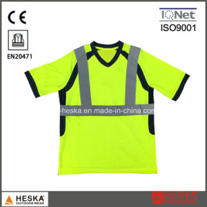 OEM Good Quality V-Neck Safety Reflective T Shirt pictures & photos