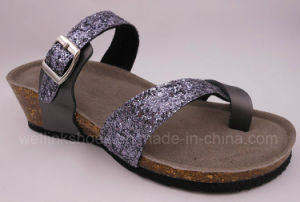 2017 Cork Shoes Cork Sandal Birken Stock Ladies Glitter Wedge Sandal