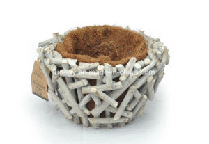 Self-Watering Coco Fiber and Rattan Pot