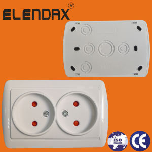 ABS 10A 16A 250V 2p Double Surface Mounted Electrical Wall Socket (S8209) pictures & photos