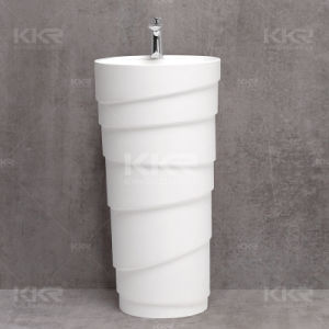 2017 Wholesale Bathroom Artificial Basin Newly Stone Pedestal Sink pictures & photos