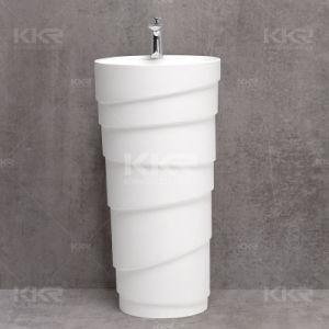 2017 Wholesale Bathroom Artificial Resin Stone Pedestal Sink pictures & photos