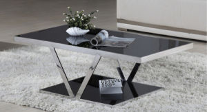 Modern Creative Hotel Household Living Room Stainless Steel Tempered Glass Table