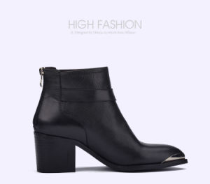 Lady Pointed-Toe High Heels Leather Shoes Women Casual Sequins Boots pictures & photos