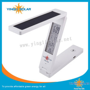 Solar Folding Desk Lamp with Clock Alarm Clock Date Temperature Indicator Function pictures & photos