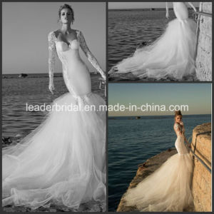 Backless Sheer Long Sleeve Cathedral Train Luxury Beach Bridal Wedding Gowns W14822 pictures & photos