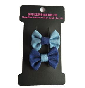Dark and Light Denim Bowknot Children′s Hair Clips pictures & photos
