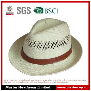 Embossed Logo Paper Straw Hat with PU Decorate pictures & photos