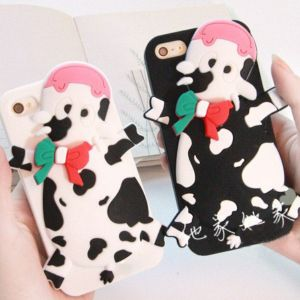 New Design Moshino 3D Cartoon Cattle Cow Silicon Back Cover Case for iPhone4g 5g