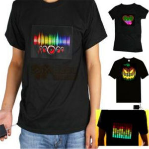 LED EL Printed Logo Flashing T-Shirts with Your Design pictures & photos