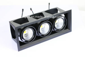 Best Quality 3 Heads 3*18W 3000lms LED Grille Downlight, COB Grille Light pictures & photos