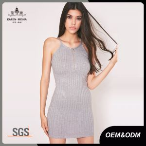 Juniors Grey Mini Ribbed Zip Sweater Dress pictures & photos