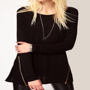 Hot Selling Women′s Fashion Black Plain Cotton T Shirts (ELTWTI-2) pictures & photos