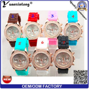 Yxl-191 Promotional Ladies Diamond Watch Silicone Casual Vogue Lady Dress Watches More Time Zone Wrist Watch pictures & photos