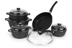 Casting Aluminum Pots and Pans with Heavy Glass Lid pictures & photos