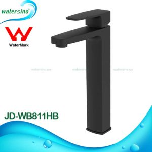 High Rise Black Basin Mixer Tap Bathroom Water Tap with Watermark pictures & photos