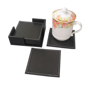 Promotion Souvenir Metal PU Leather Cup Mat Coaster (QL-BD-0012) pictures & photos