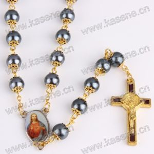 Gold Plated Chain Ivory Pearl Imitation Glass Rosary