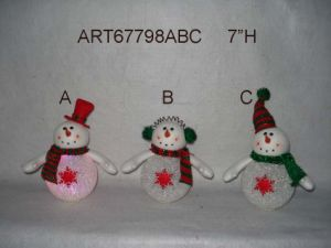"7""H EVA Lighted up Snowman Christmas Decoration LED, 3 Asst pictures & photos"
