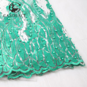 Nigerian Lace Beaded Tulle Lace Fabric pictures & photos