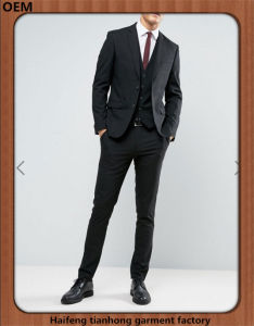 Italian Classic Black Slim Fit Business Wedding Suit for Men pictures & photos
