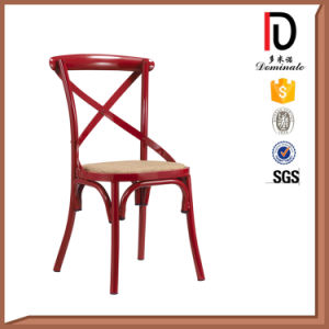 High Quality Wedding Banquet Hall Cross Back Chair with Fixed Black PU Cushion pictures & photos