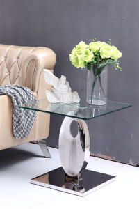 Hot Sale Glass Top Corner Guard Sofa Side Table pictures & photos