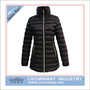 Women Long Parka Down Padding Jacket with Metal Zipper pictures & photos